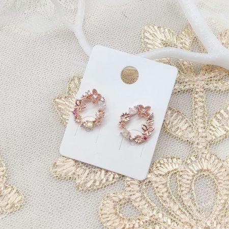 韓國製造-蝴蝶花園閃鑽耳環