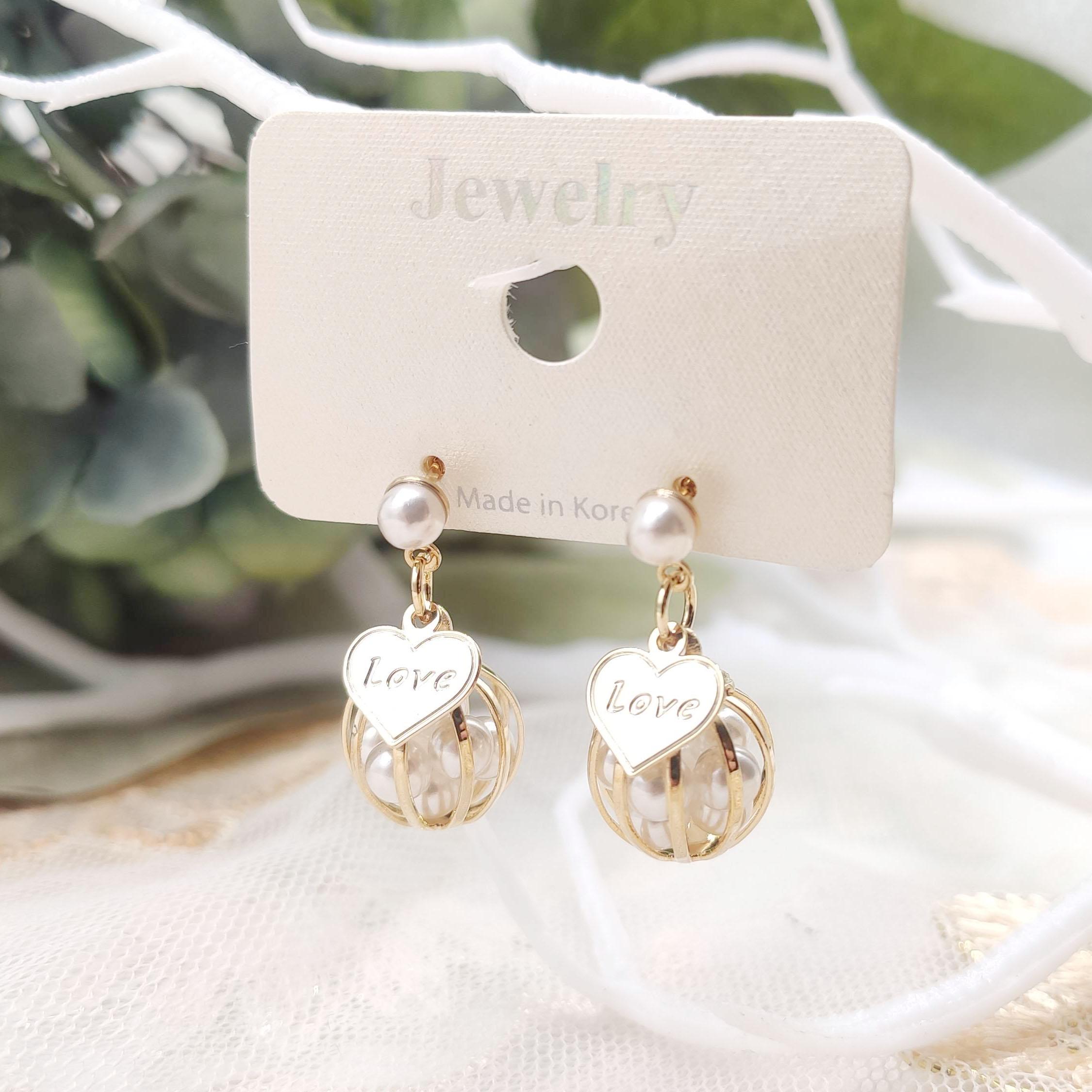 韓國製造-金絲小珍珠環耳環
