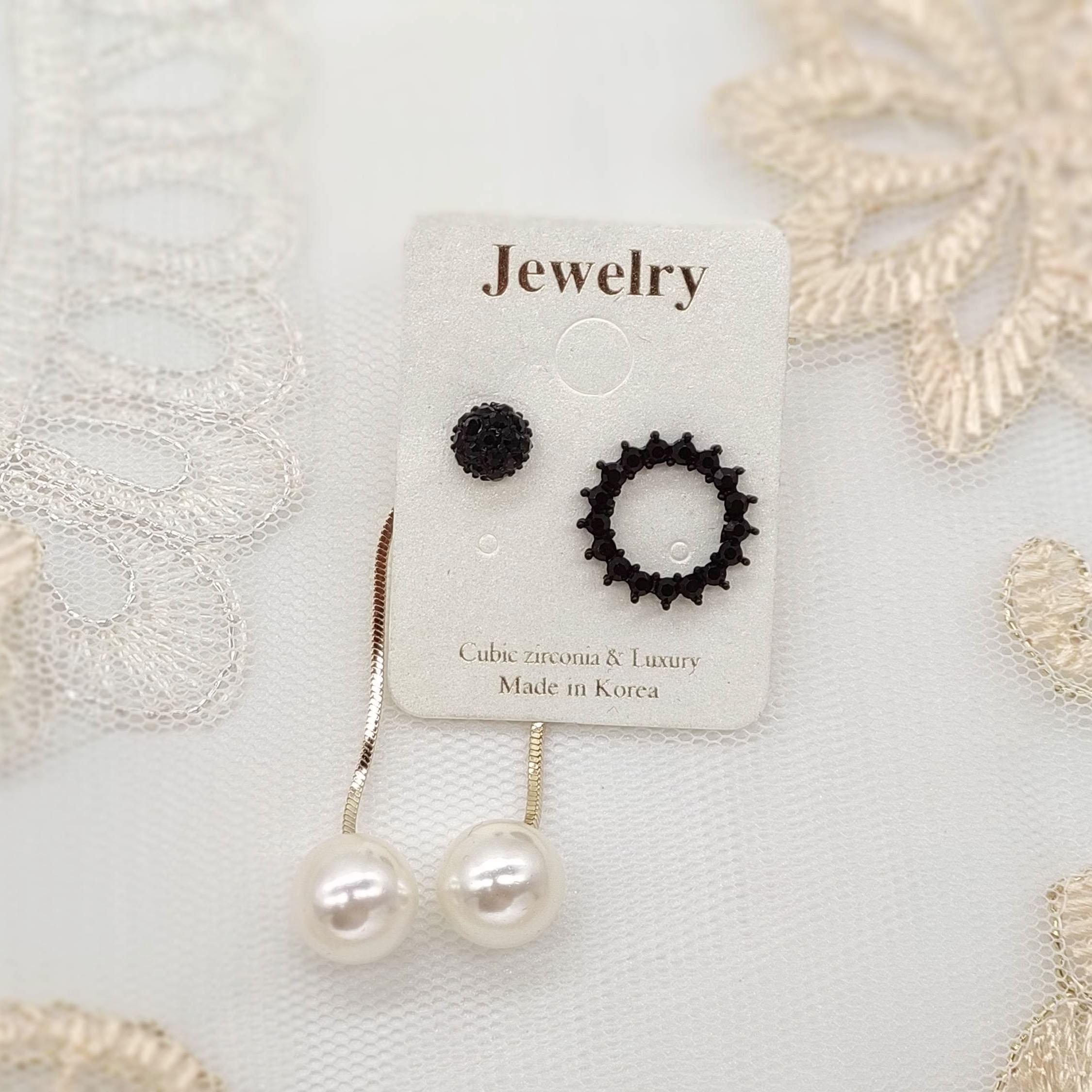 韓國製造-黑色閃鑽圈圈不對稱珍珠長耳環