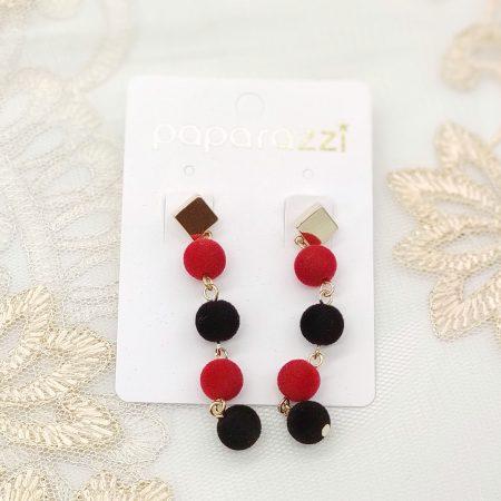 韓國製造-串串紅黑毛毛球耳環