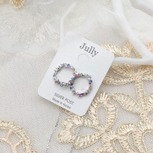 韓國製造-彩鑽環兩種戴法長耳環