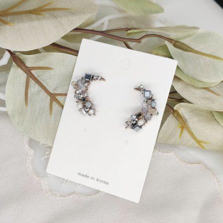 韓國製造-閃石水晶珍珠月亮耳環[韓國手工耳環]