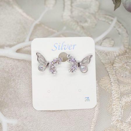 韓國製造-夢幻精緻蝴蝶細閃石耳環