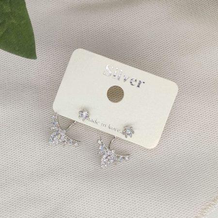 韓國製造-極閃排排細鑽後置設計耳環