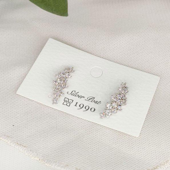 韓國製造-細緻極閃葉形耳環
