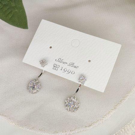 韓國製造-極閃圓鑽後置設計耳環