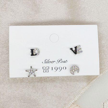 韓國製造-LOVE星星月亮耳環一包4款