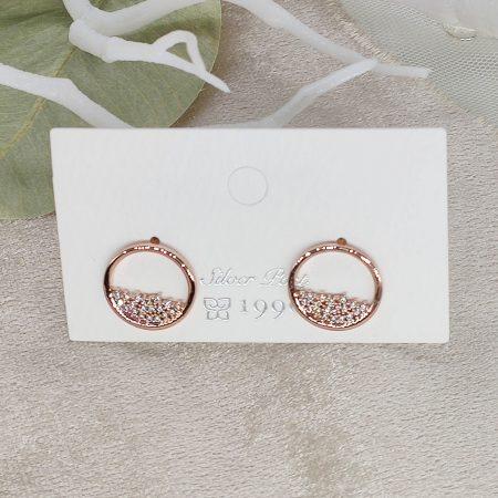 韓國製造-半滿閃鑽的知性耳環