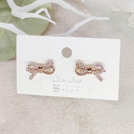 韓國製造-優雅氣質閃鑽蝴蝶結耳環